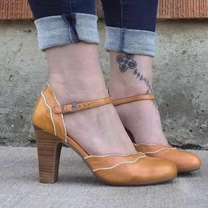 Elegent Vintage Ankle-Strap High Heels Mary Jane Sandals