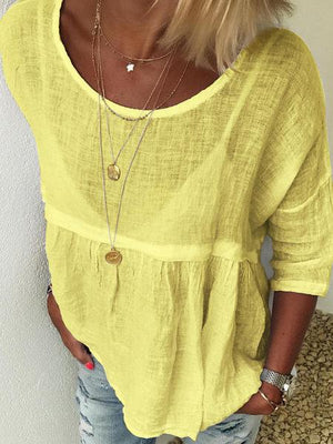 Plus Size Round Neck Paneled Pullover Blouse