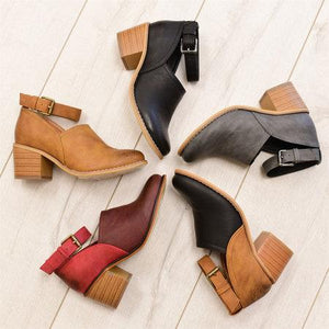 Summer Ankle-Buckle Hollow Round Toe Chunky  Sandals