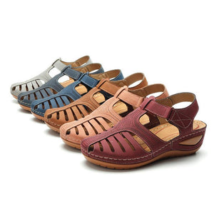 Hollow Well-Ventilated Loop&Hook Wedges Comfy Sandals