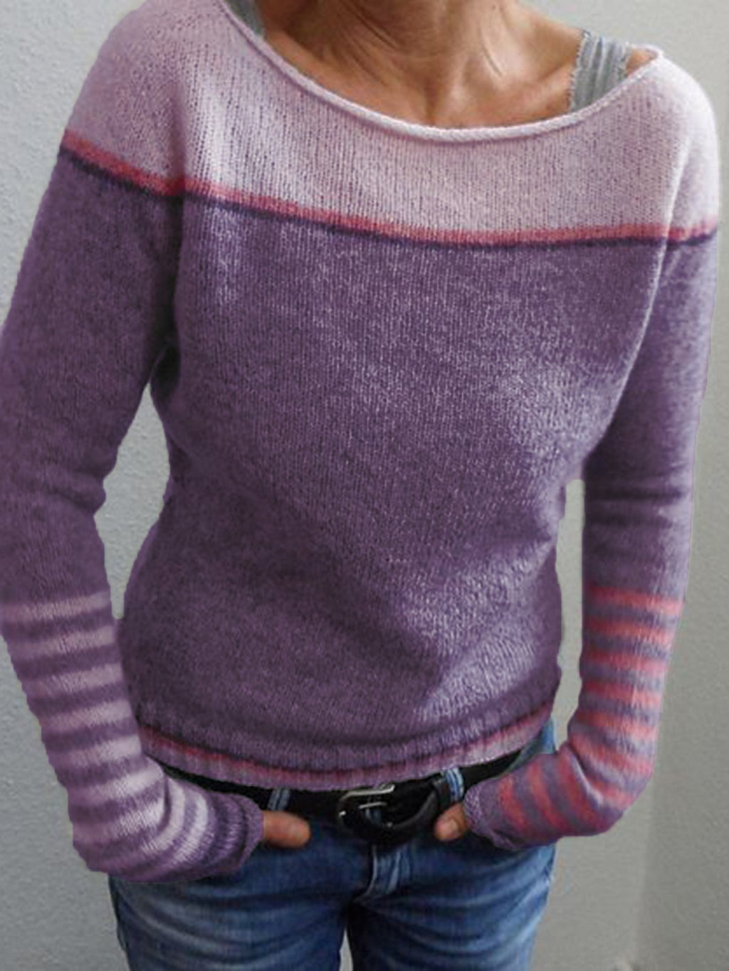 Color Block Stripe Sleeve Long Sleeve Round Neck Sweater