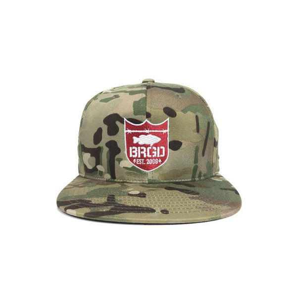 Bass Brigade Shield Logo Snapback Hat - Mulitcam/Red