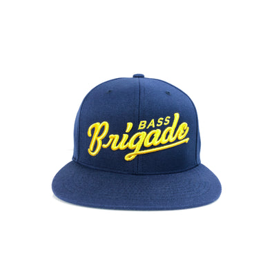 Bass Brigade Script Snapback Hat - Navy/Yellow