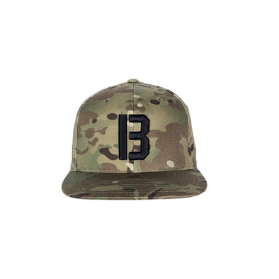 BASS BRIGADE B LOGO SNAPBACK HAT - MULTICAM GREEN/BLACK