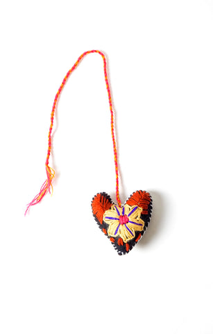 Orange Flower Heart Tassel