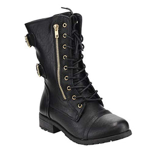 Mango-71  ZIPPER MILITARY COMBAT BOOTS