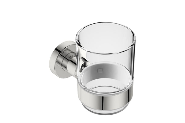 Glass Tumbler with Holder 4632 - Polished Stainless Steel - Bathroom Butler bathroom accessories