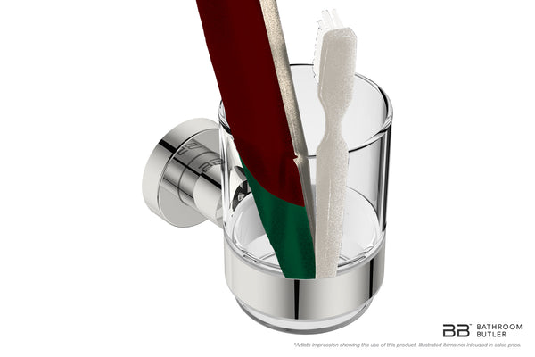 Glass Tumbler and Holder 4632 shown with close-up of artists impression of use - Bathroom Butler