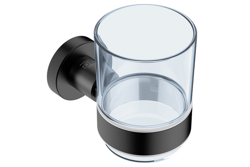 Glass Tumbler with Holder 4632 - Matte Black - Bathroom Butler bathroom accessories