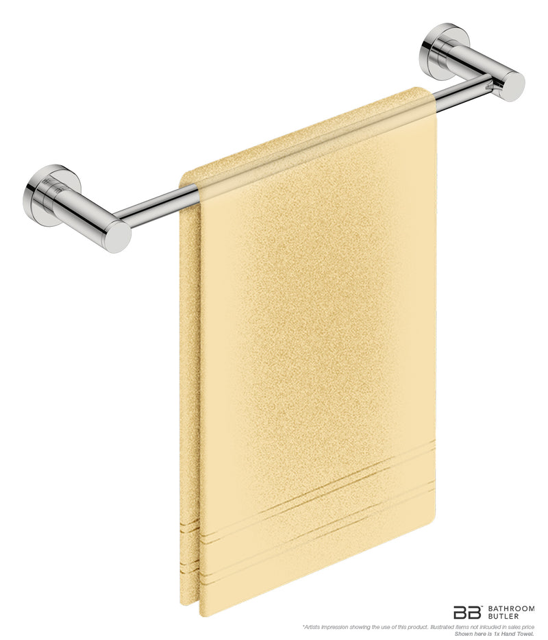 Single Towel Bar 17inch 4670 with artists impression of 1 folded hand towel - Bathroom Butler