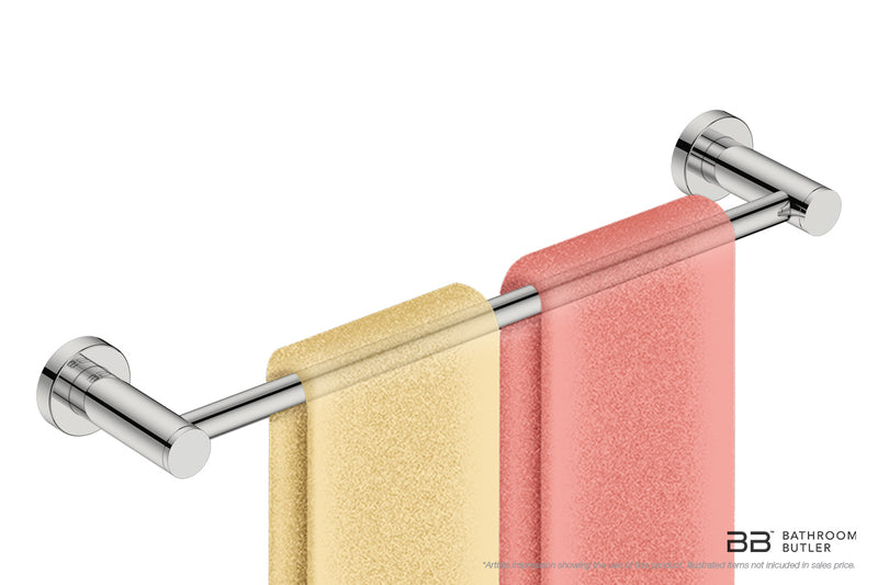 Single Towel Bar 17inch 4670 with close-up artists impression of 2 folded hand towels - Bathroom Butler