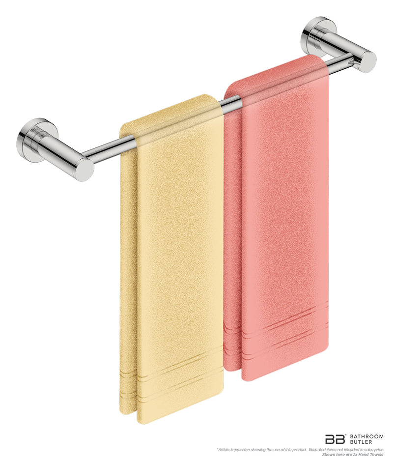 Single Towel Bar 17inch 4670 with artists impression of 2 folded hand towels - Bathroom Butler