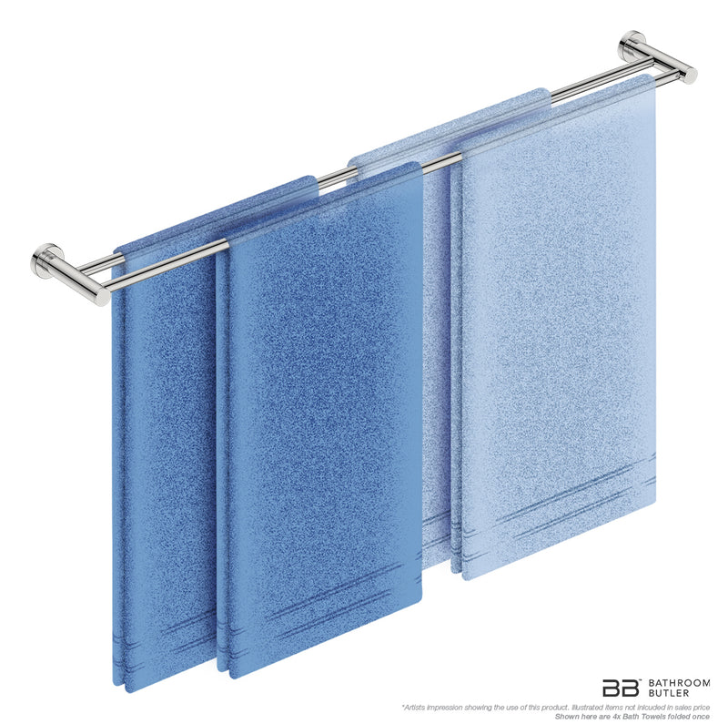 Double Towel Bar 43inch 4688 with an artists impression of four single folded bath towels - Bathroom Butler