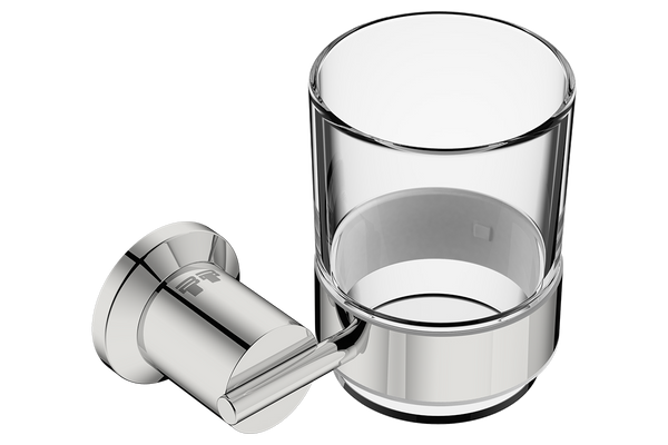 Glass Tumbler with Holder 5832 - Polished Stainless Steel - Bathroom Butler bathroom accessories