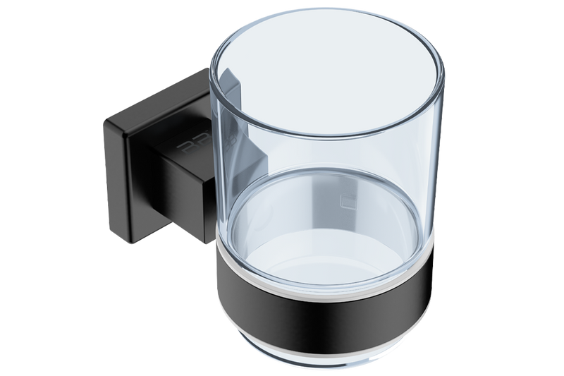 Glass Tumbler with Holder 8532 - Brushed Stainless Steel - Bathroom Butler bathroom accessories