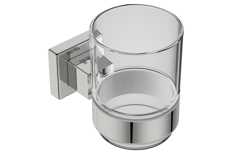 Glass Tumbler with Holder 8532 - Polished Stainless Steel - Bathroom Butler bathroom accessories