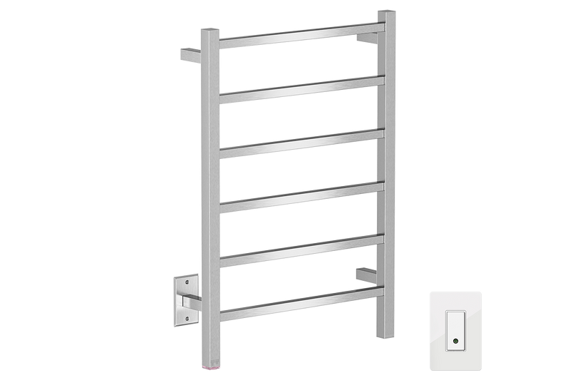 CUBIC 6 Bar 21inch heated towel rack with PTSelect temperature adjustment and Wi-Fi enabled switch in Brushed nickel like finish -120V - Bathroom Butler bathroom accessories and heated towel racks