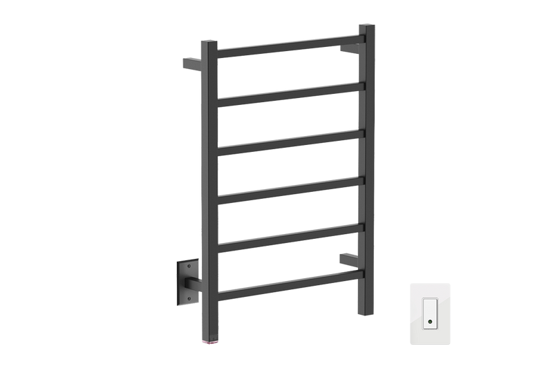 CUBIC 6 Bar 21inch heated towel rack with PTSelect temperature adjustment and Wi-Fi enabled switch in matte black finish -120V - Bathroom Butler bathroom accessories and heated towel racks