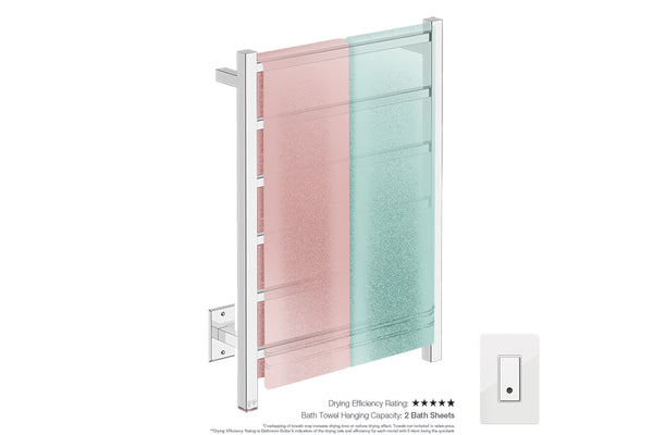 Bath towel drying and hanging capacity - CUBIC 6 Bar 21inch heated towel rack with temperature adjustment and Wi-Fi enabled switch in Polished finish