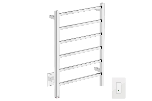 "Cubic 6 Bar 21"" Heated Towel Warmer with Wi-Fi enabled Switch -120V - Bathroom Butler bathroom accessories and heated towel rails"