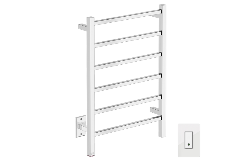 CUBIC 6 Bar 21inch Heated Towel Rack with PTSelect temperature adjustment and Wi-Fi enabled switch in Polished Stainless Steel finish -120V - Bathroom Butler bathroom accessories and heated towel racks