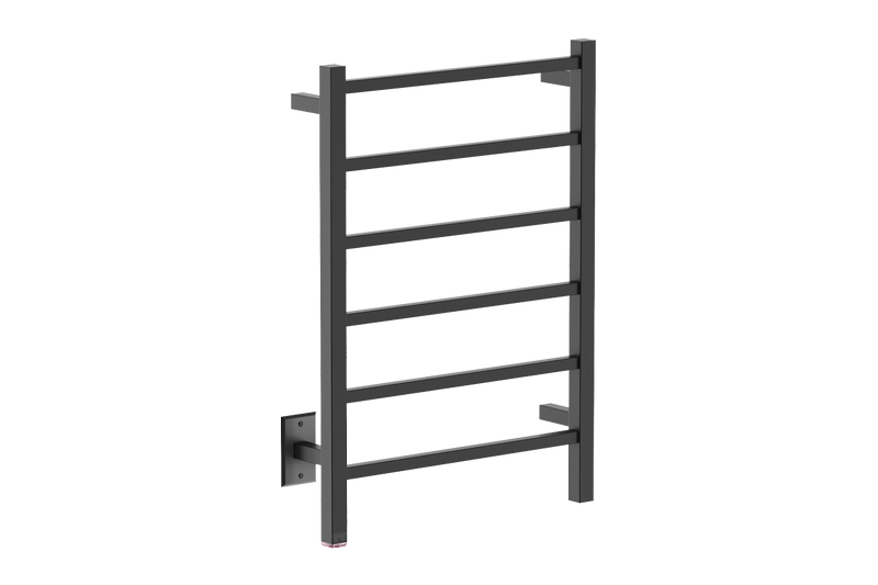 CUBIC 6 Bar 21inch heated towel rack with PTSelect temperature adjustment in matte black finish -120V - Bathroom Butler bathroom accessories and heated towel racks