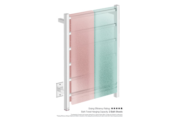 Bath towel drying and hanging capacity - CUBIC 6 Bar 21inch heated towel rack with temperature adjustment in Polished finish