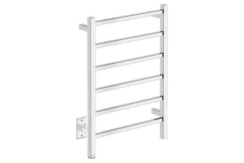 CUBIC 6 Bar 21inch Heated Towel Rack with PTSelect temperature adjustment in Polished Stainless Steel finish -120V - Bathroom Butler bathroom accessories and heated towel racks