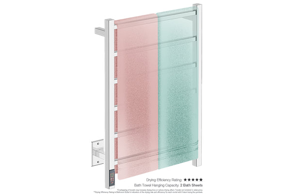 Bath towel drying and hanging capacity - CUBIC 6 Bar 21inch heated towel rack with built in TDC Timer and temperature adjustment in Polished finish