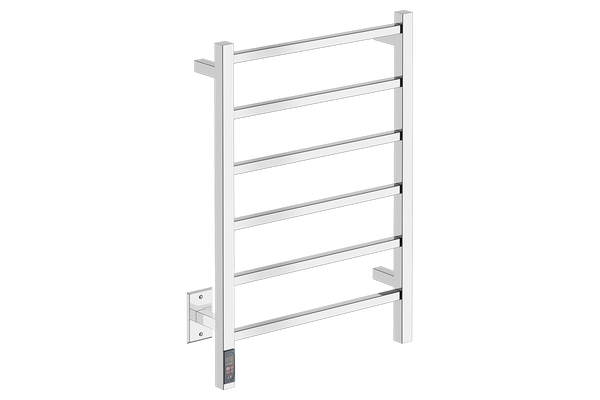 CUBIC 6 Bar 21inch Heated Towel Rack with built in TDC Timer and temperature adjustment in Polished Stainless Steel finish -120V - Bathroom Butler bathroom accessories and heated towel racks