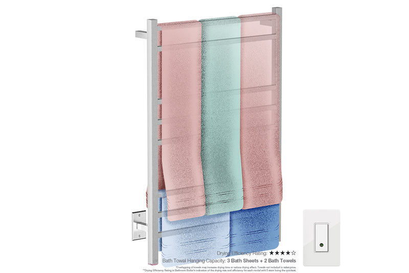 Bath towel drying and hanging capacity - CUBIC 8 Bar 25inch electric towel rack with temperature adjustment and Wi-Fi enabled switch in Brushed Nickel like finish