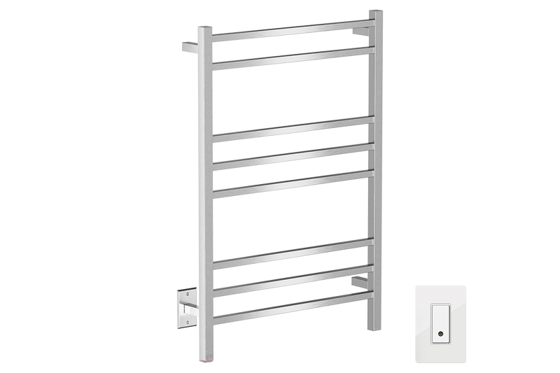 CUBIC 8 Bar 25inch Heated Towel Rack with PTSelect temperature adjustment and Wi-Fi enabled switch in Brushed nickel like finish -120V - Bathroom Butler bathroom accessories and heated towel racks