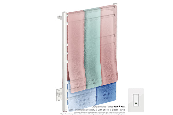 Bath towel drying and hanging capacity - CUBIC 8 Bar 25inch heated towel rack with temperature adjustment and Wi-Fi enabled switch in Polished finish