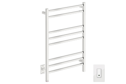 CUBIC 8 Bar 25inch Heated Towel Rack with PTSelect temperature adjustment and Wi-Fi enabled switch in polished stainless steel finish-120V - Bathroom Butler bathroom accessories and heated towel racks