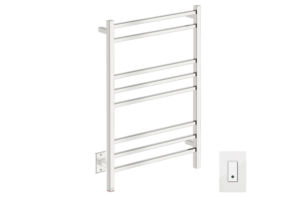 "Cubic 8 Bar 25"" Heated Towel Warmer with Wi-Fi enabled Switch 120V - Bathroom Butler bathroom accessories and heated towel rails"