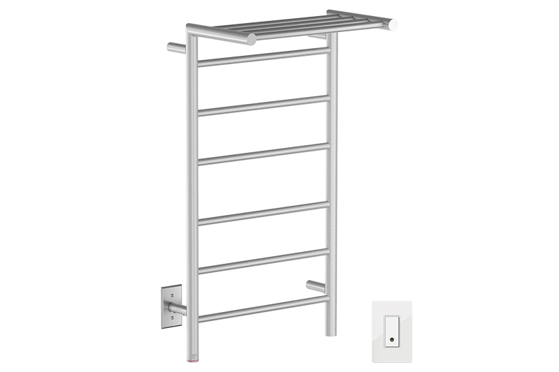 EDGE 10 Bar 20inch heated towel rack with PTSelect temperature and Wi-Fi enabled switch in Brushed nickel like finish -120V - Bathroom Butler bathroom accessories and heated towel racks