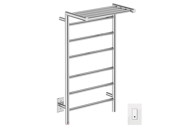 EDGE 10 Bar 20inch heated towel rack with PTSelect temperature and Wi-Fi enabled switch in Polished Stainless Steel finish -120V - Bathroom Butler bathroom accessories and heated towel racks