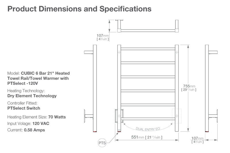 Dimensions and specifications for CUBIC 6 bar 21inch heated towel rack with temperature adjustment PTSelect
