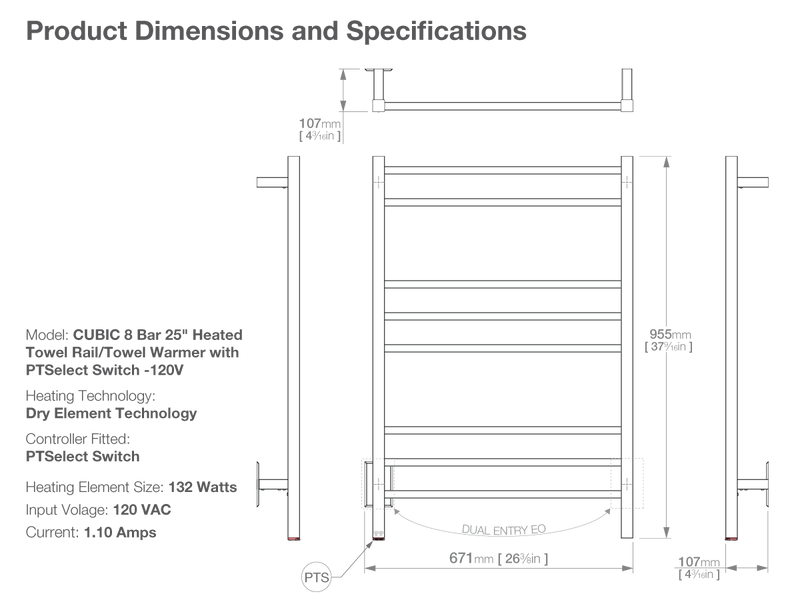 Dimensions and specifications for CUBIC 8 bar 25inch heated towel rack with temperature adjustment PTSelect switch