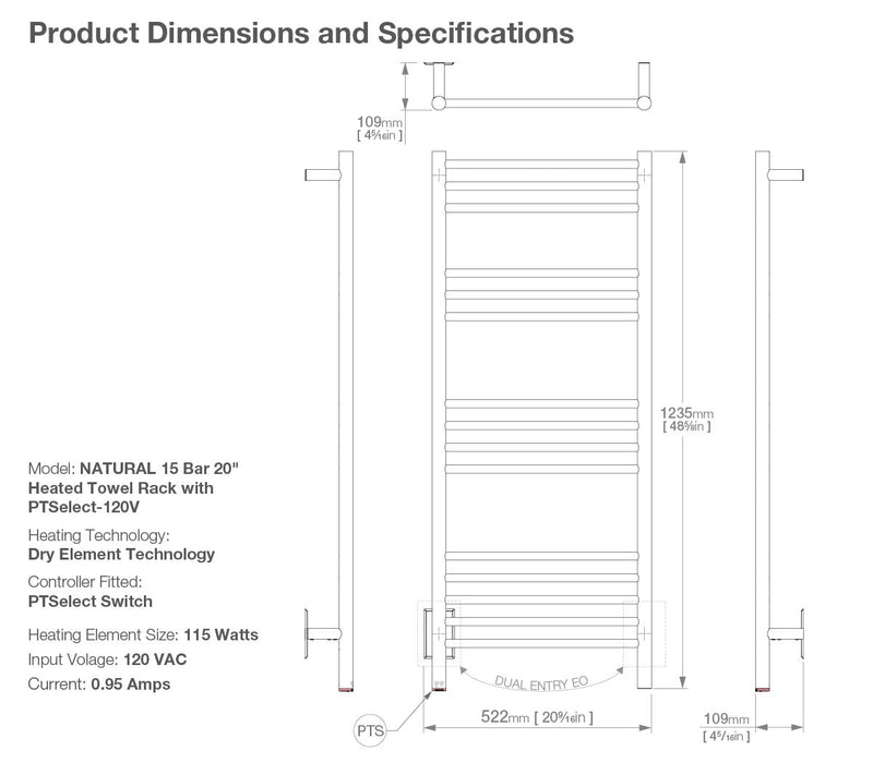Dimensions and specifications for NATURAL 15 bar 20inch heated towel rack with temperature adjustment and Wi-Fi enabled switch