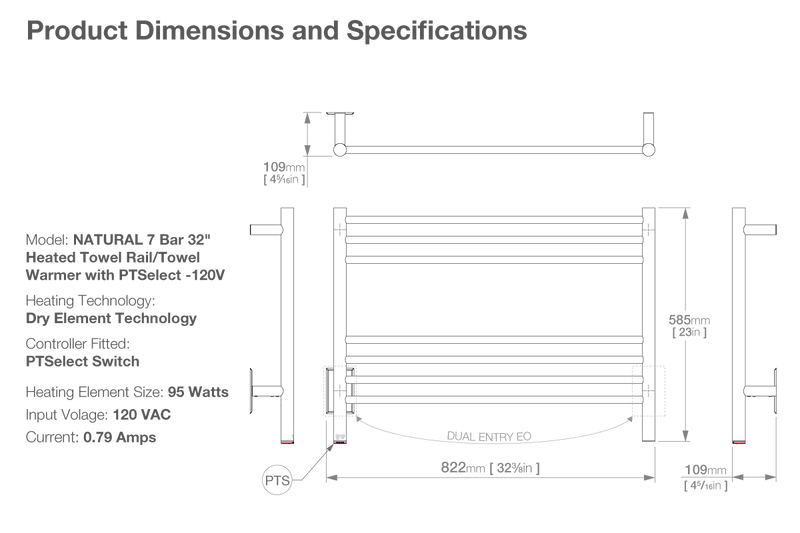 Dimensions and specifications for NATURAL 7 Bar 32inch heated towel rack with temperature adjustment PTSelect