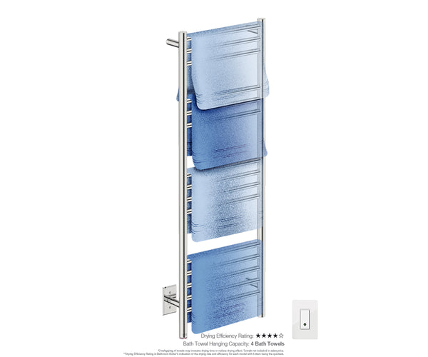 Bath towel drying and hanging capacity - NATURAL 15 Bar 17inch heated towel rack with temperature adjustment in Polished finish