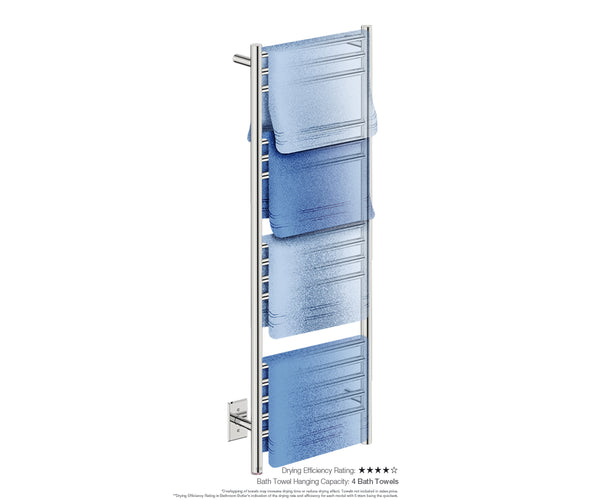 Bath towel drying and hanging capacity - NATURAL 15 Bar 17inch electric towel rack with temperature adjustment in Polished finish