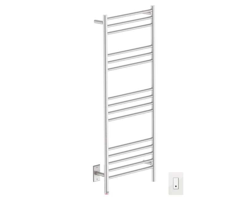 Bathroom Butler NATURAL 15 Bar heated towel rack with temperature adjustment and Wi-Fi enabled switch in Brushed Nickel like Finish