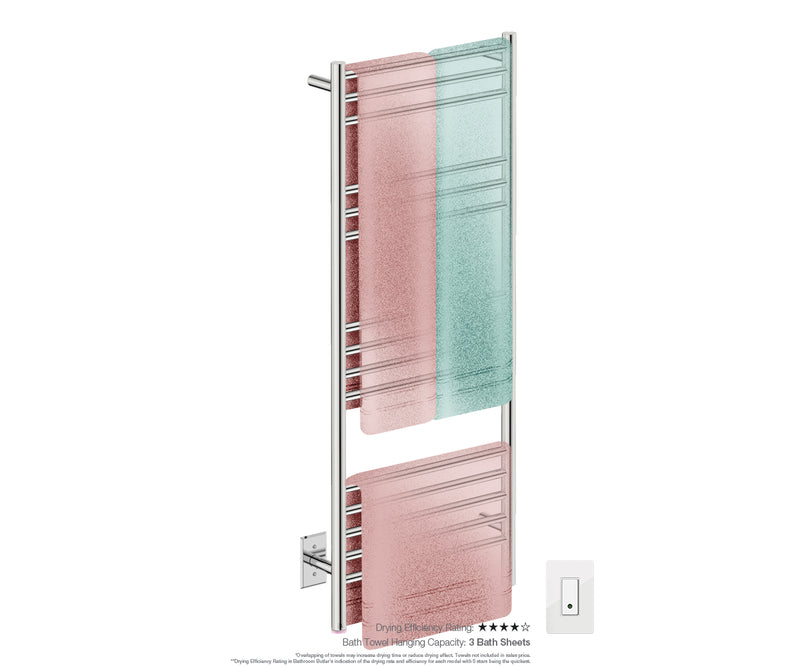Bath towel drying and hanging capacity - NATURAL 15 Bar 20inch electric towel rack with temperature adjustment and Wi-Fi enabled switch in Polished finish