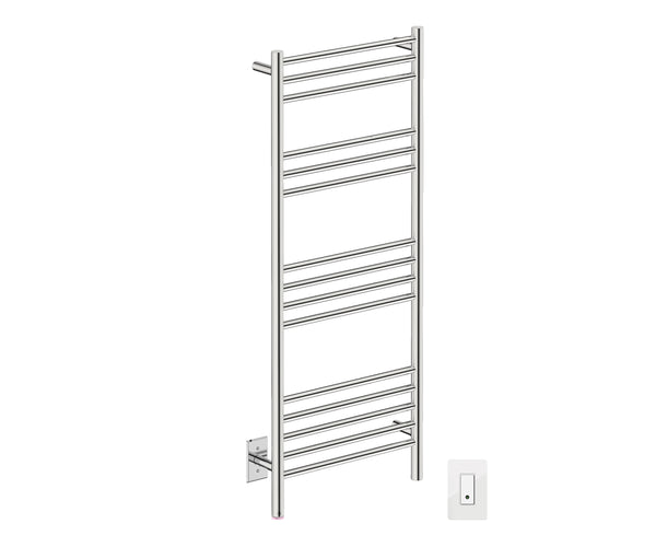 Bathroom Butler NATURAL 15 Bar heated towel rack with temperature adjustment and Wi-Fi enabled switch in Polished Finish