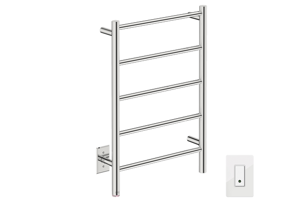 "Natural 5 Bar 20"" Heated Towel Rail with Wi-Fi enabled Switch -120V - Bathroom Butler bathroom accessories and heated towel rails"