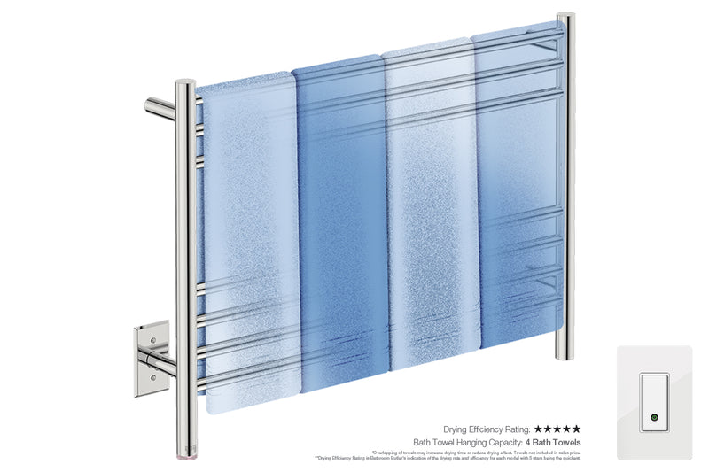 Bath towel drying and hanging capacity - NATURAL 7 Bar 32inch heated towel rack with PTSelect temperature and Wi-Fi enabled switch in Polished finish