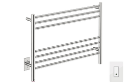 NATURAL 7 Bar 32inch heated towel rack with PTSelect temperature and Wi-Fi enabled switch in Polished Stainless Steel finish -120V - Bathroom Butler bathroom accessories and heated towel racks
