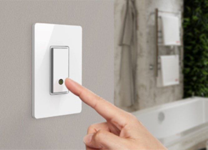 Electric towel racks connected with WEMO Wi-Fi enabled switch